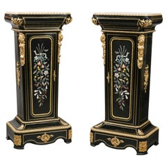 Pair of Napoleon III Hardstone-Mounted Pedestal-Cabinets by Mathieu Befort