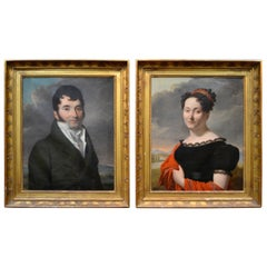 Pair of Napoleonic Era Portraits of an Aruitocratic Couple by Antoine Borel
