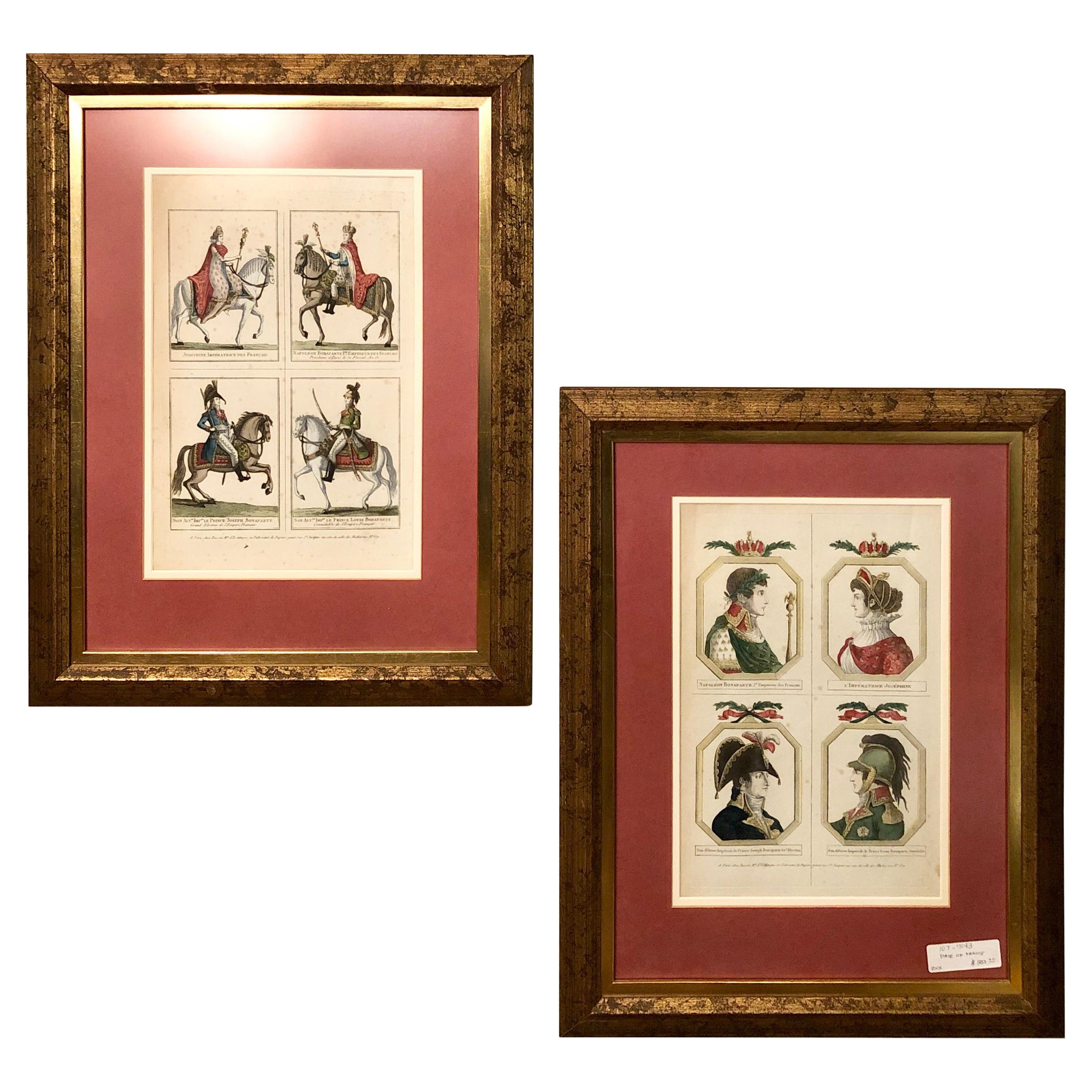 Pair of Napoleonice Engravings in a Tortoise Shell Frame