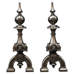 Pair of Neo Gothic Steel Firedogs