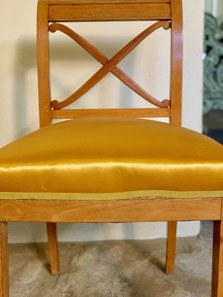 Pair of Neoclassical Revialist Chairs with Gold Satin Cushions and Trim In Good Condition For Sale In New Orleans, LA