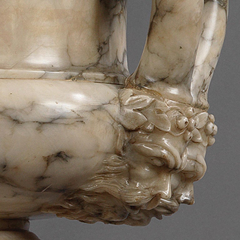 Italian Pair of Neoclassical Style Carved Alabaster Vases, circa 1910 For Sale
