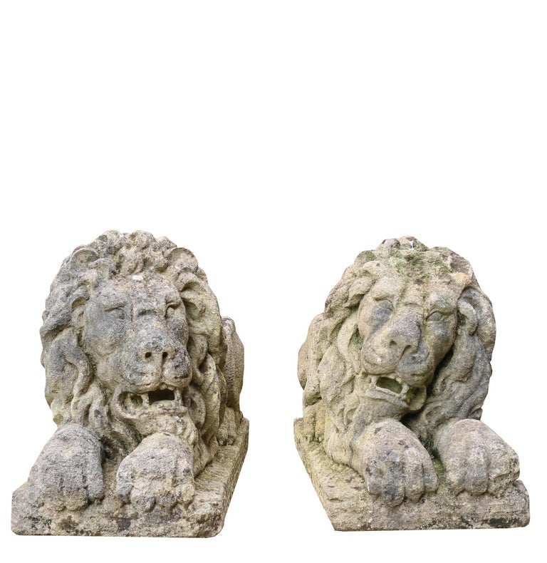 About:  A pair of carved limestone lions; After Canova  Condition report:  One lion's paw has a small loss to the front. Weathered finish.   Style:  Italian neoclassical  Period:  Second half of the 20th century  Origin:  England,