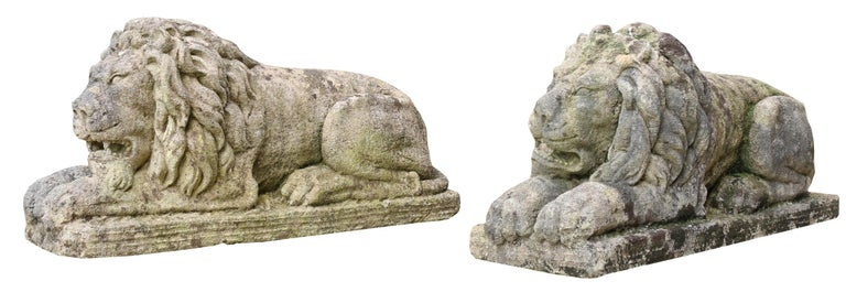 20th Century Pair of Neoclassical Style Carved Limestone Lions For Sale