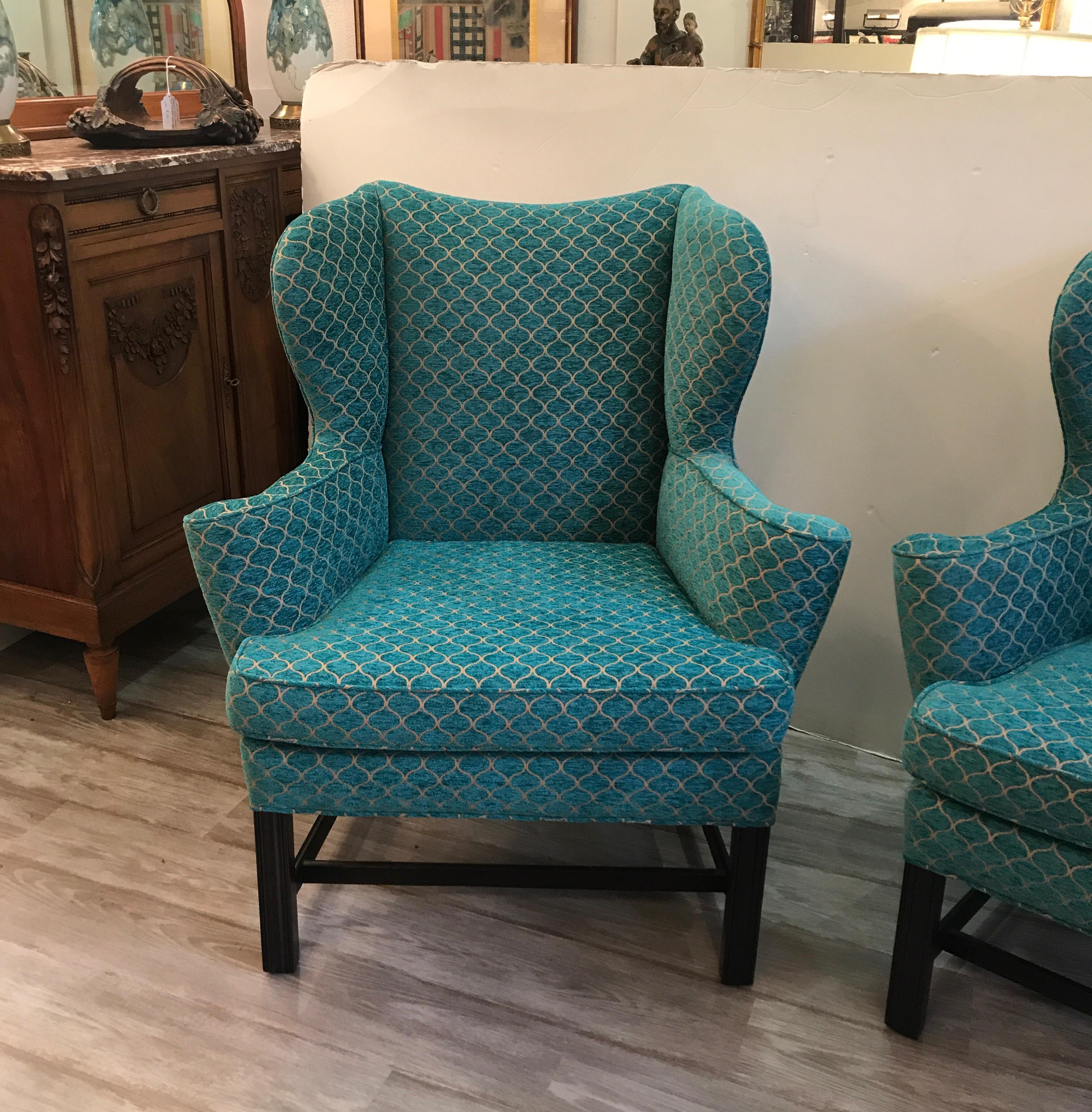 Pair Of Newly Upholstered Shapely Wingback Chairs