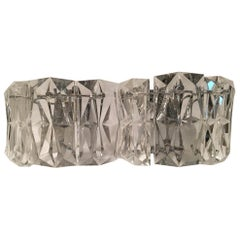 Pair of Nice Kinkeldey Chrome and Facteted Glass Sconces