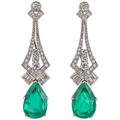 Pair of No Oil Columbian Emerald and Diamond Drop Earrings Certificated by GRS