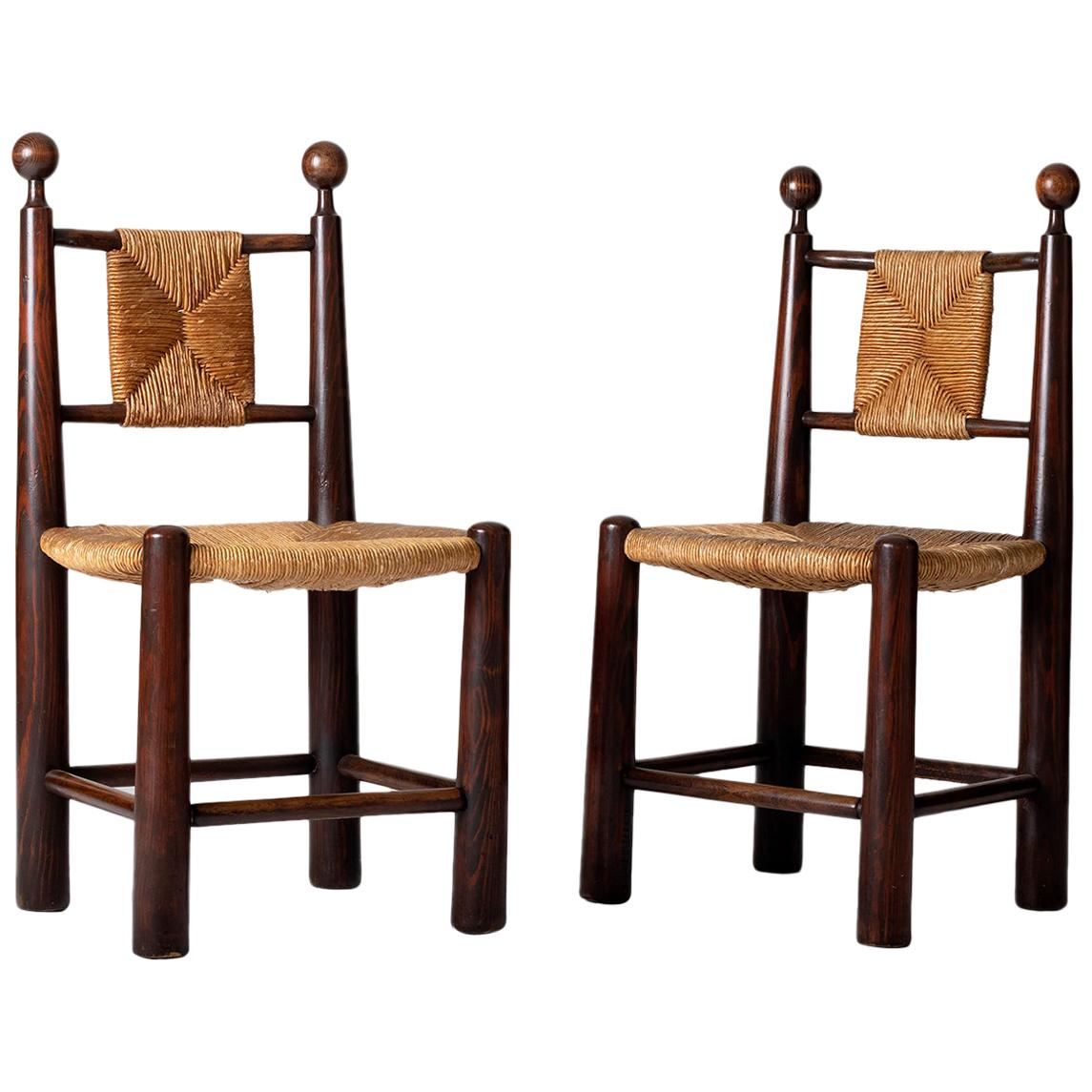 Pair of Oak and Straw Chairs in the Manner of Jean Royère