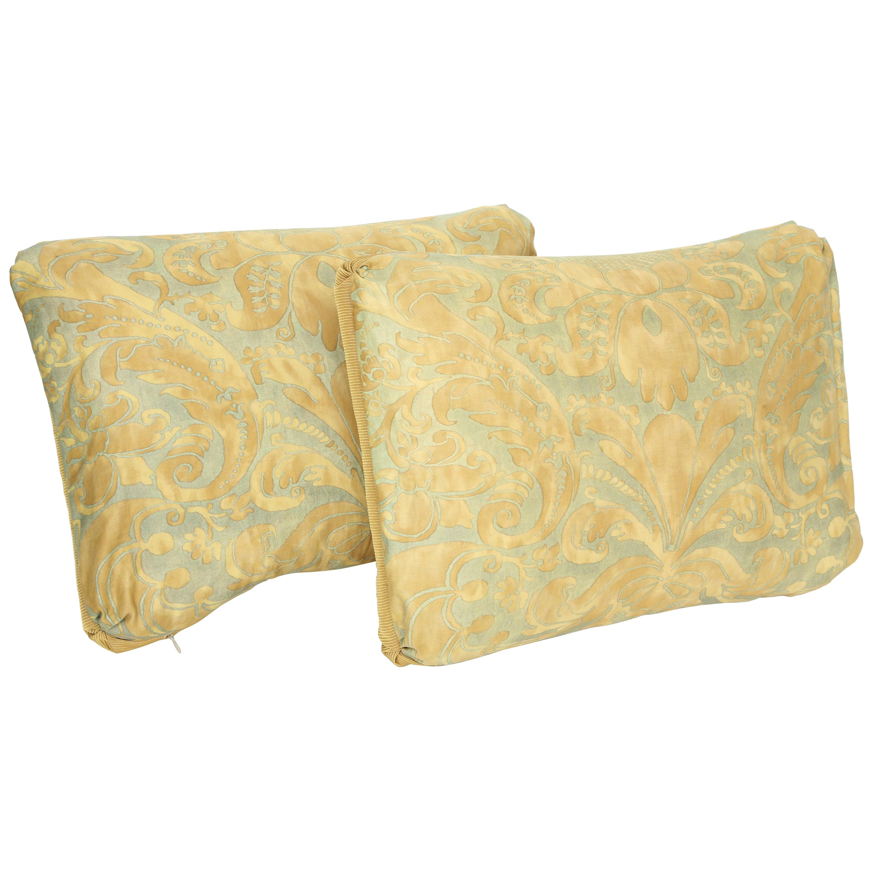 """Fortuny Oblong Cushions in the """"Caravaggio"""" Pattern-A Pair"""