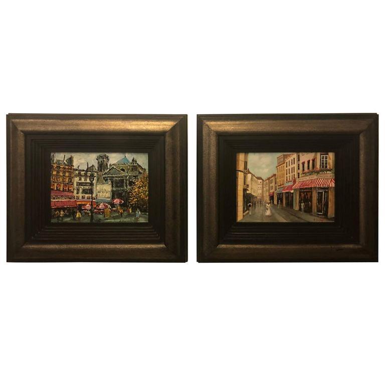 Pair of Oil on Canvas Parisian Street Scenes Paintings Signed R. Roywilsens
