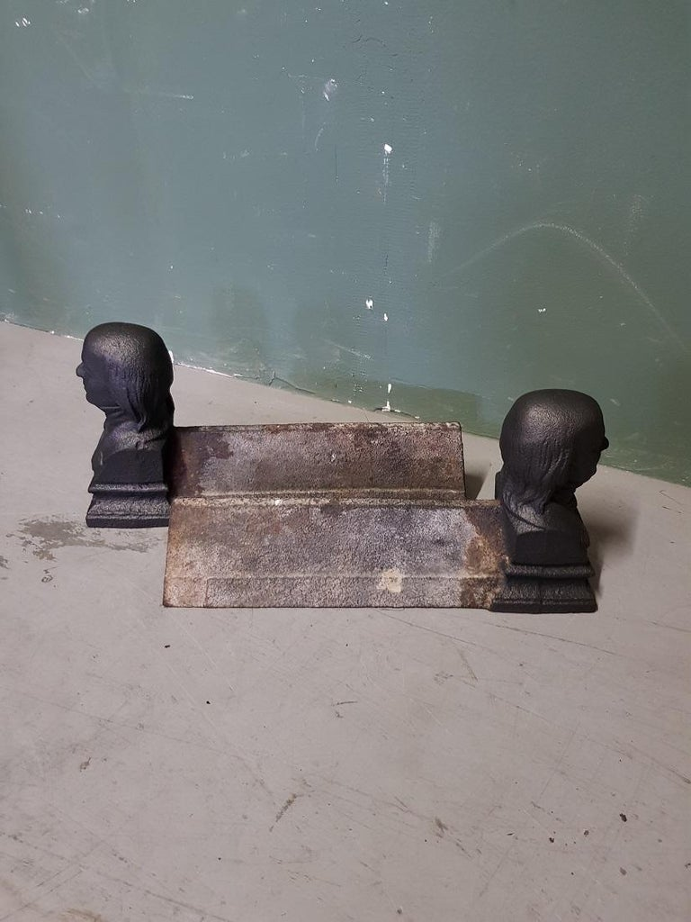 Neoclassical Pair of Old French Andirons with Men's Bust at the Front For Sale