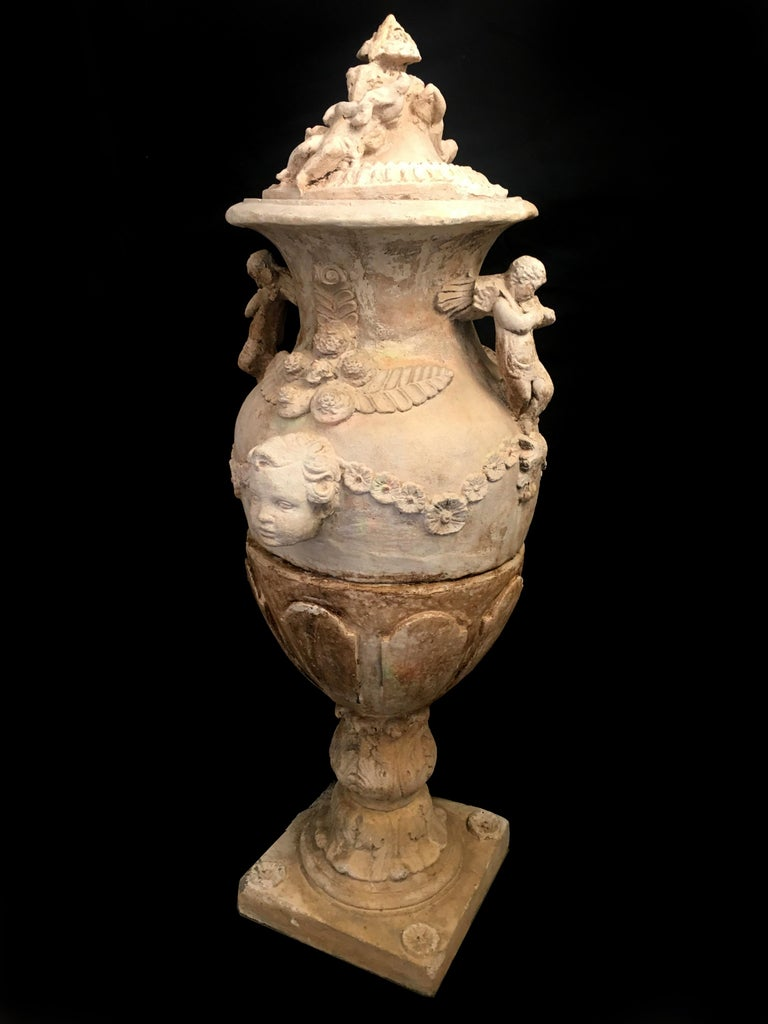 Clay Pair of Old Italian Stone Garden Vases. Florence, Late of 18th Century For Sale