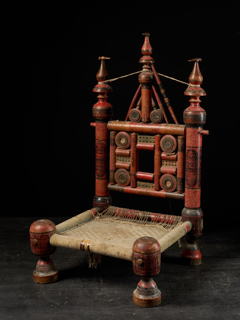 Pair of Old Punjabi Handcrafted Wooden Tribal Wedding Chairs For Sale 11