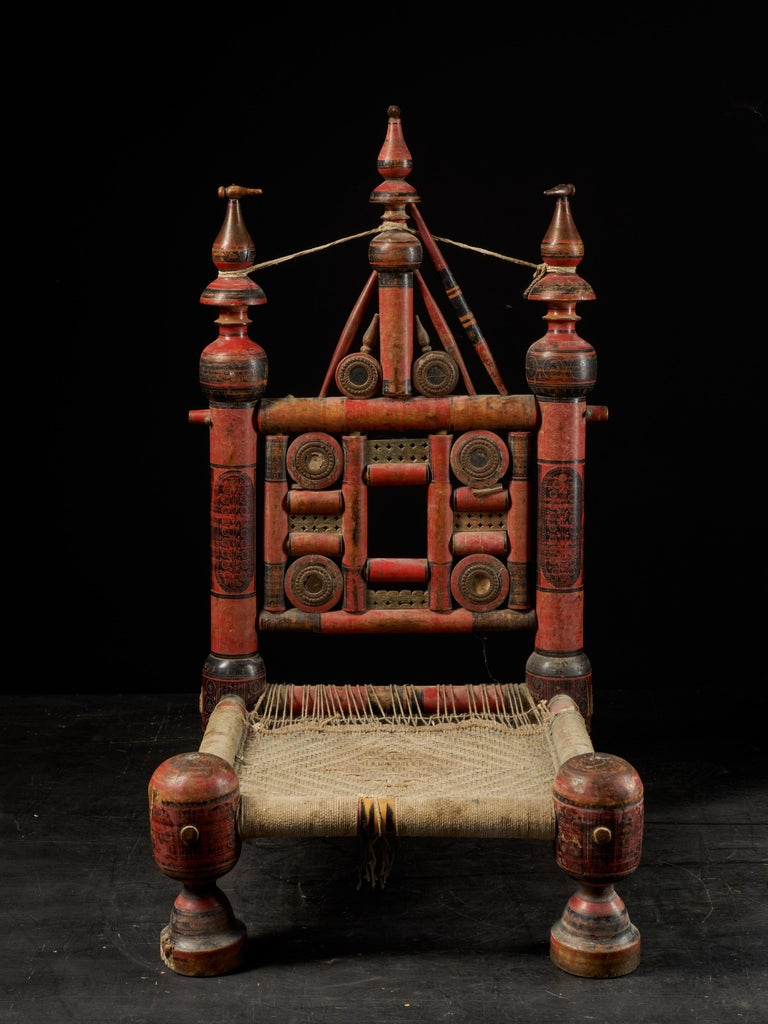 Pair of Old Punjabi Handcrafted Wooden Tribal Wedding Chairs For Sale 12