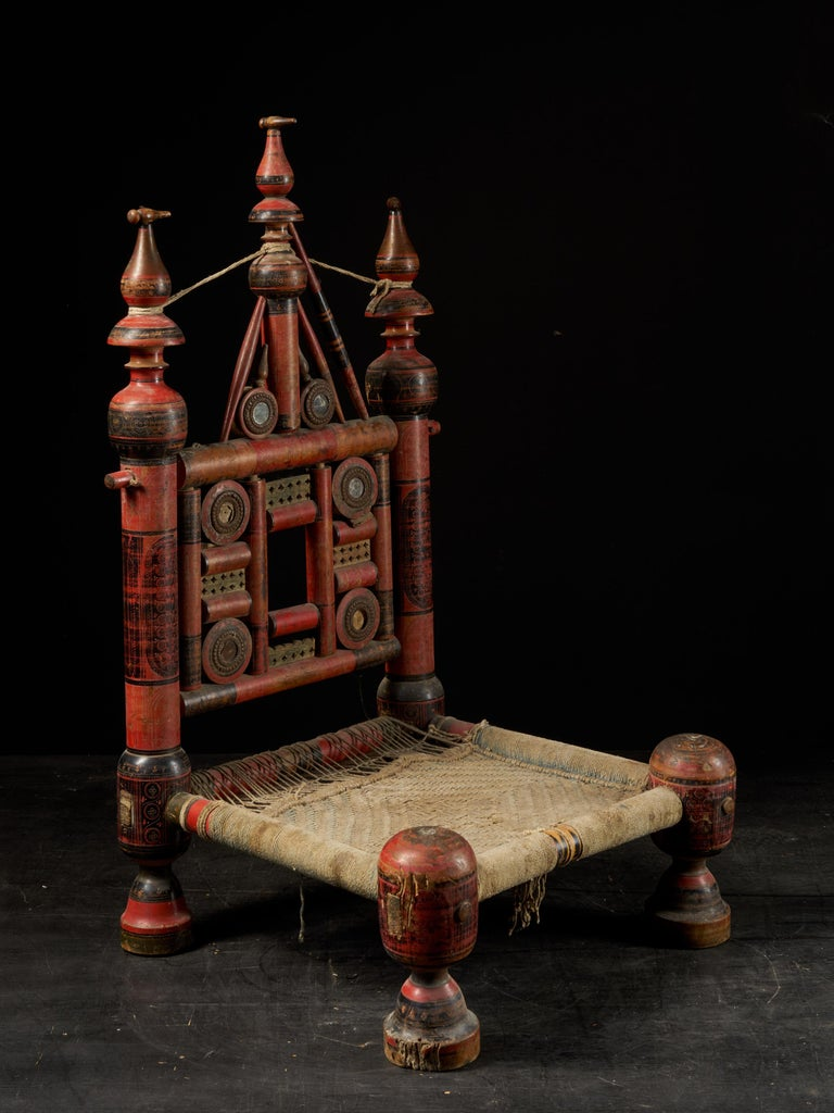 Pair of Old Punjabi Handcrafted Wooden Tribal Wedding Chairs For Sale 13