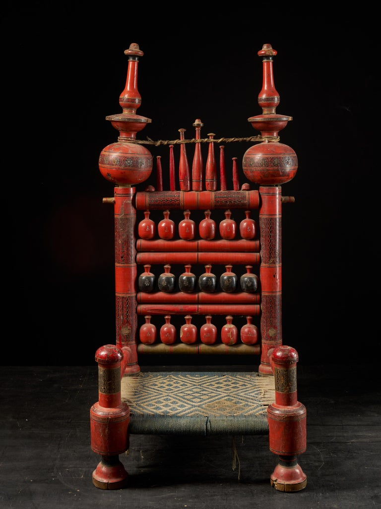 Indian Pair of Old Punjabi Handcrafted Wooden Tribal Wedding Chairs For Sale