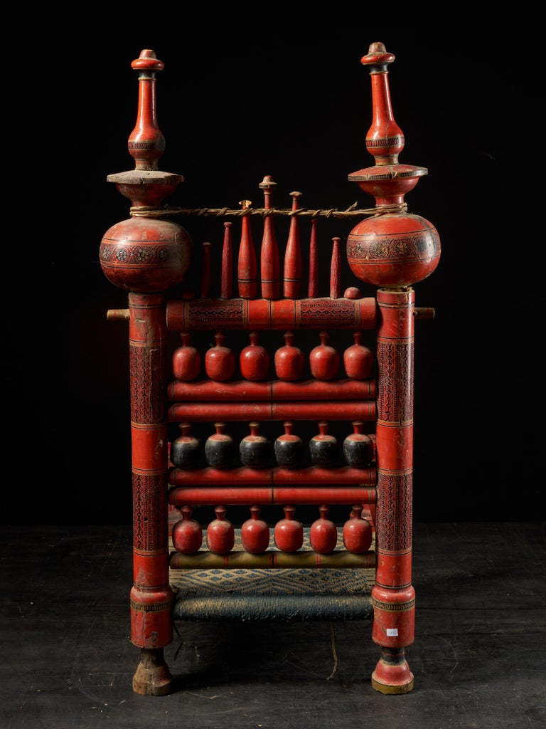 19th Century Pair of Old Punjabi Handcrafted Wooden Tribal Wedding Chairs For Sale