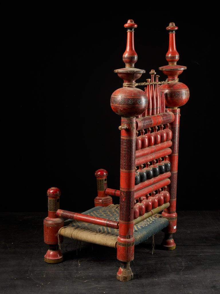 Rope Pair of Old Punjabi Handcrafted Wooden Tribal Wedding Chairs For Sale