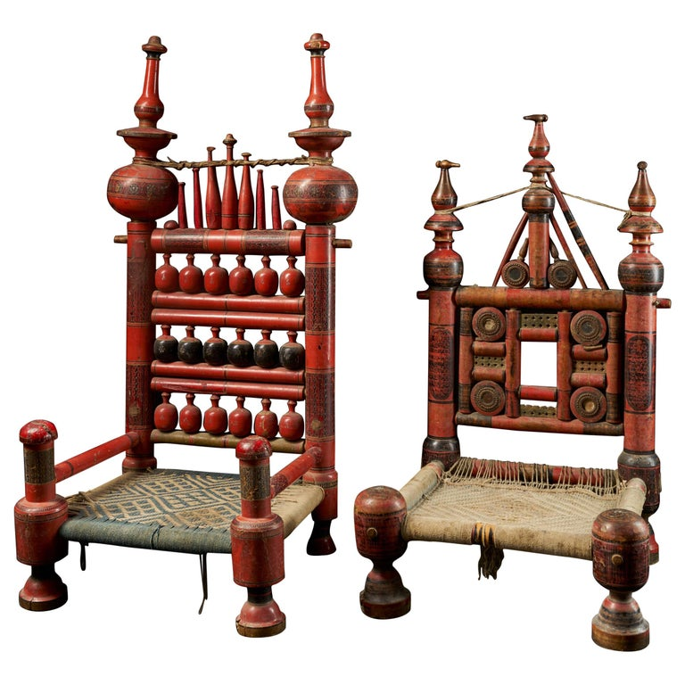 Pair of Old Punjabi Handcrafted Wooden Tribal Wedding Chairs For Sale