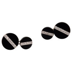 Pair of Onyx and Diamond Cufflinks