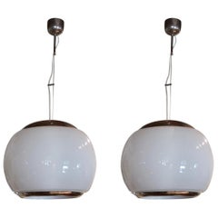Pair of Opaline Glass and Chromed Midcentury Ceiling Lamps, Italy, 1970