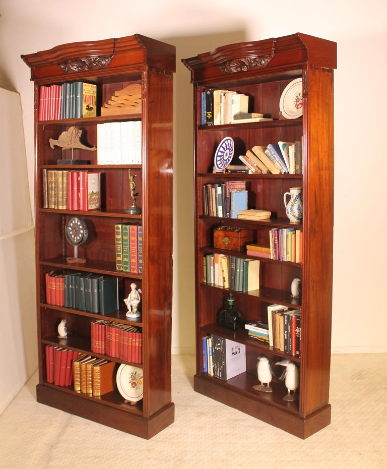 Pair Of Open Bookcase Mahogany, 19th Century For Sale At