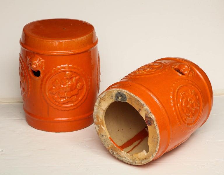 Pair of Orange Ceramic Garden Stools For Sale 6