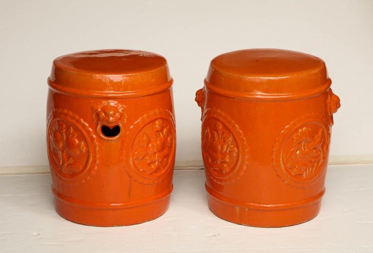 Chinese Pair of Orange Ceramic Garden Stools For Sale