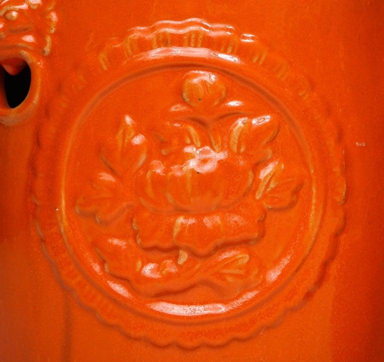Pair of Orange Ceramic Garden Stools For Sale 1