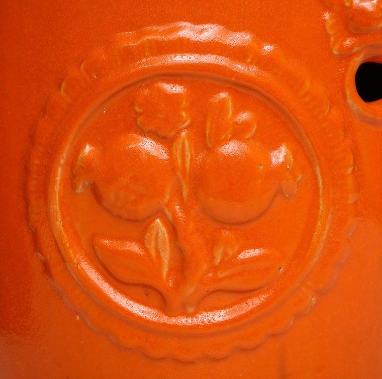 Pair of Orange Ceramic Garden Stools For Sale 2