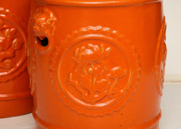 Pair of Orange Ceramic Garden Stools For Sale 3