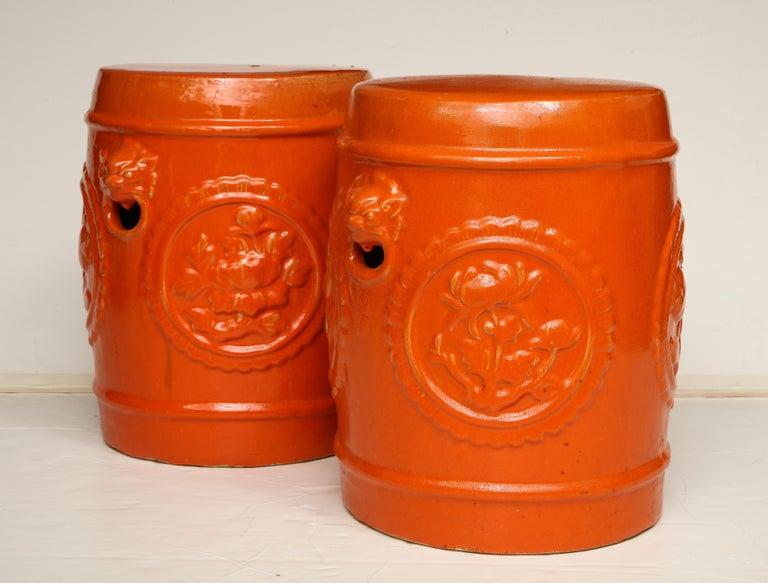 Pair of Orange Ceramic Garden Stools For Sale 4