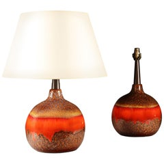 Pair of Orange Volcanic Glaze Art Pottery Vases as Table Lamps