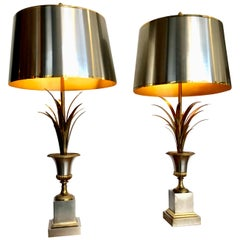 "Pair of Orignal Maison Charles ""Rose Vase"" Lamps with Rare Orignal Shades"