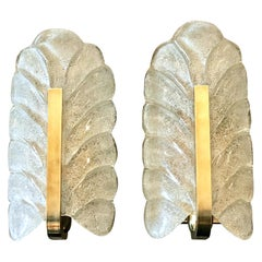 Pair of Orrefors Glass Leaf Wall Sconces with Brass Fittings by Carl Fagerlund
