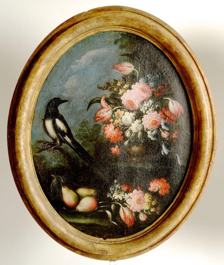 Neoclassical Pair of Oval Still Lifes Attributed to the Early 19th C Milanese School, c1820 For Sale