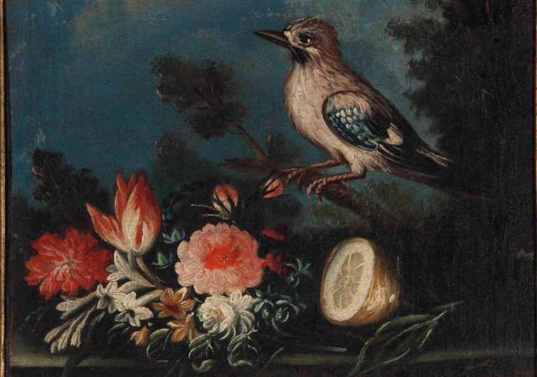 European Pair of Oval Still Lifes Attributed to the Early 19th C Milanese School, c1820 For Sale