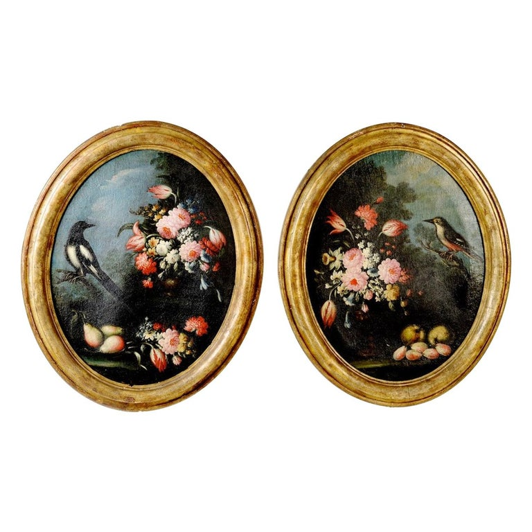 Pair of Oval Still Lifes Attributed to the Early 19th C Milanese School, c1820 For Sale