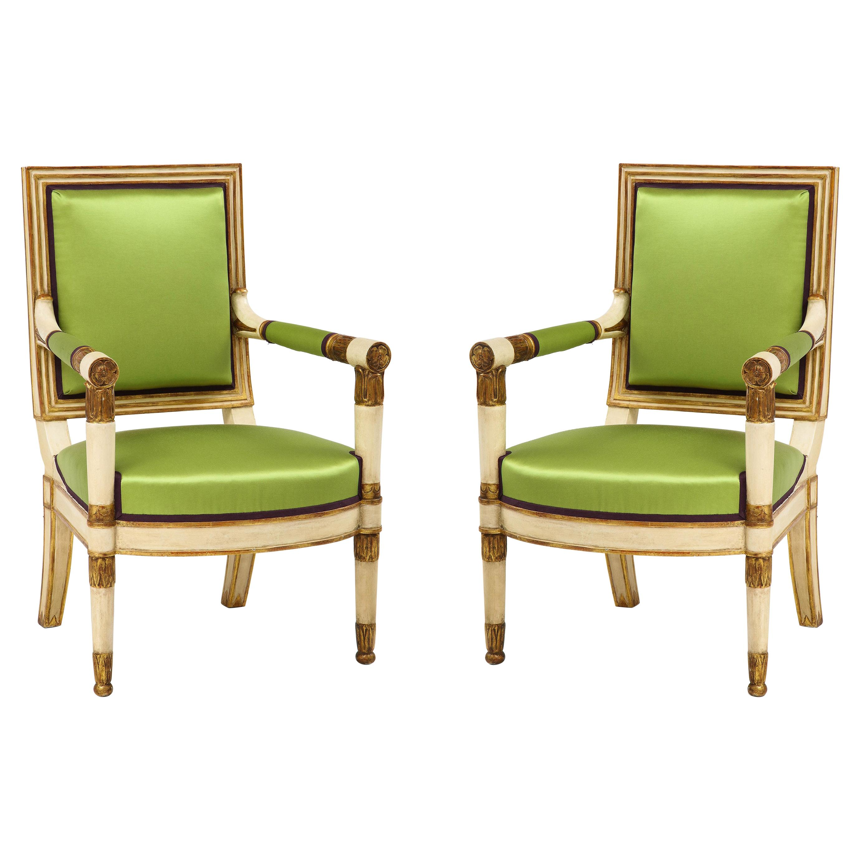 Pair of Painted and Parcel Gilt Empire Armchairs