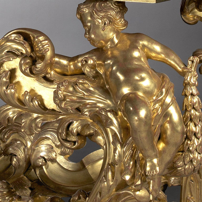 Pair of Palatial Giltwood Console Tables with Marble Tops, circa 1870 7