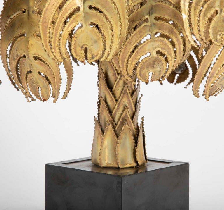 Late 20th Century Pair of Palm Tree Form Lamps by Christian Techoueyres for Maison Jansen For Sale