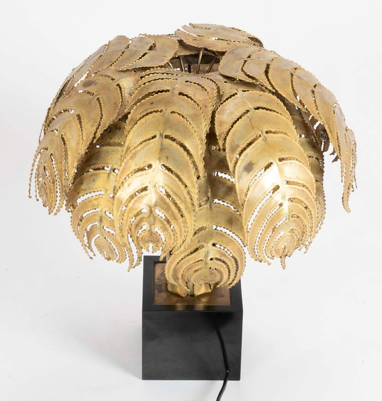 Pair of Palm Tree Form Lamps by Christian Techoueyres for Maison Jansen For Sale 1