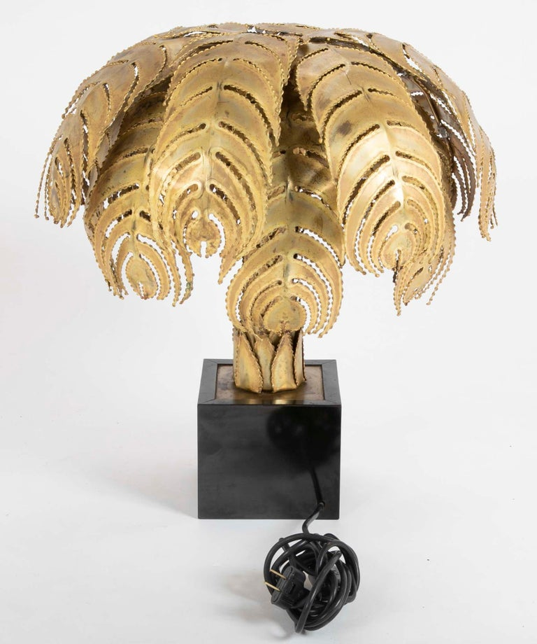 Pair of Palm Tree Form Lamps by Christian Techoueyres for Maison Jansen For Sale 2