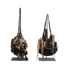 Pair of Papua New Guinea Tribal Medicine Bags from Mid-20th Century