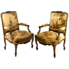 A Pair of Parcel-gilt Aubusson Tapestry Walnut Armchairs
