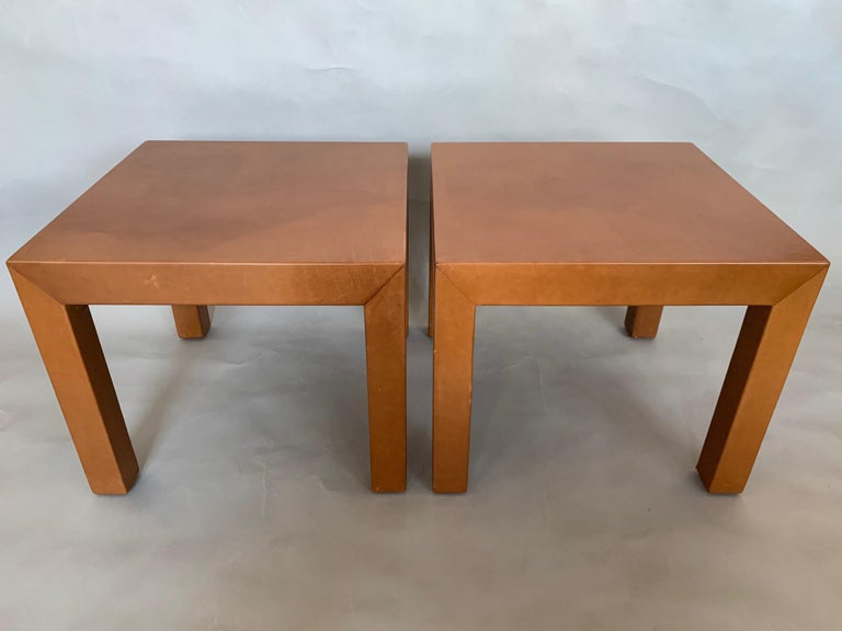 Pair of Parsons Leather Pedestal Tables For Sale 5