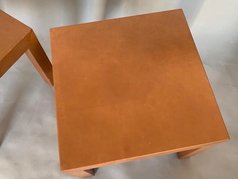 Modern Pair of Parsons Leather Pedestal Tables For Sale