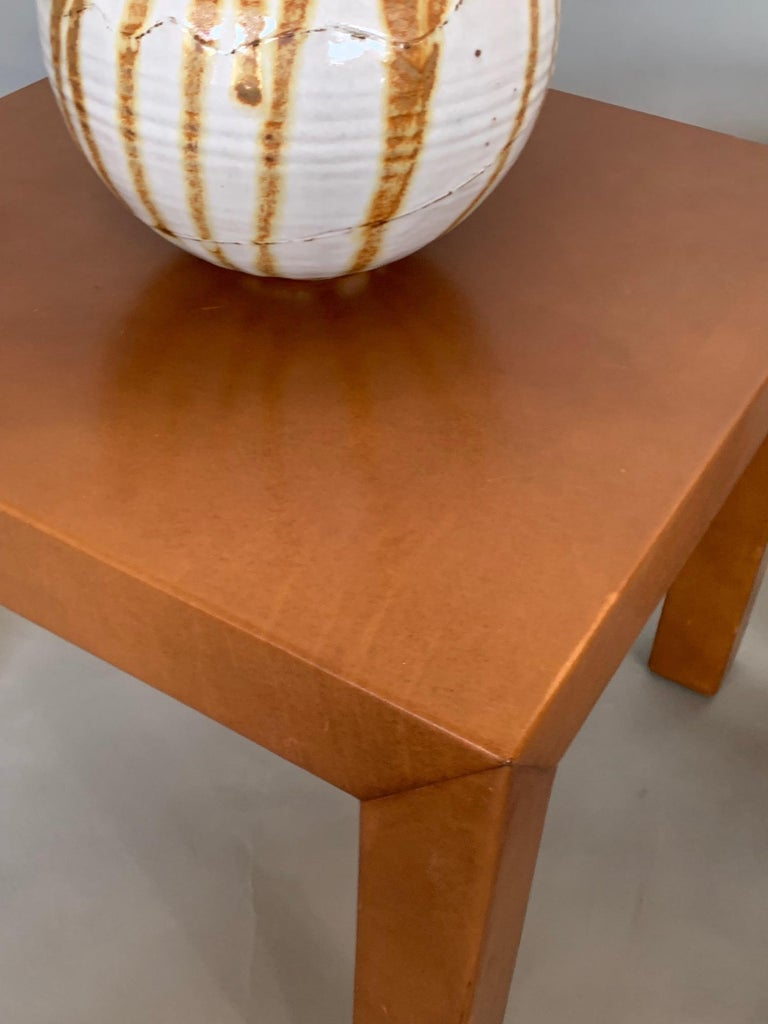 American Pair of Parsons Leather Pedestal Tables For Sale