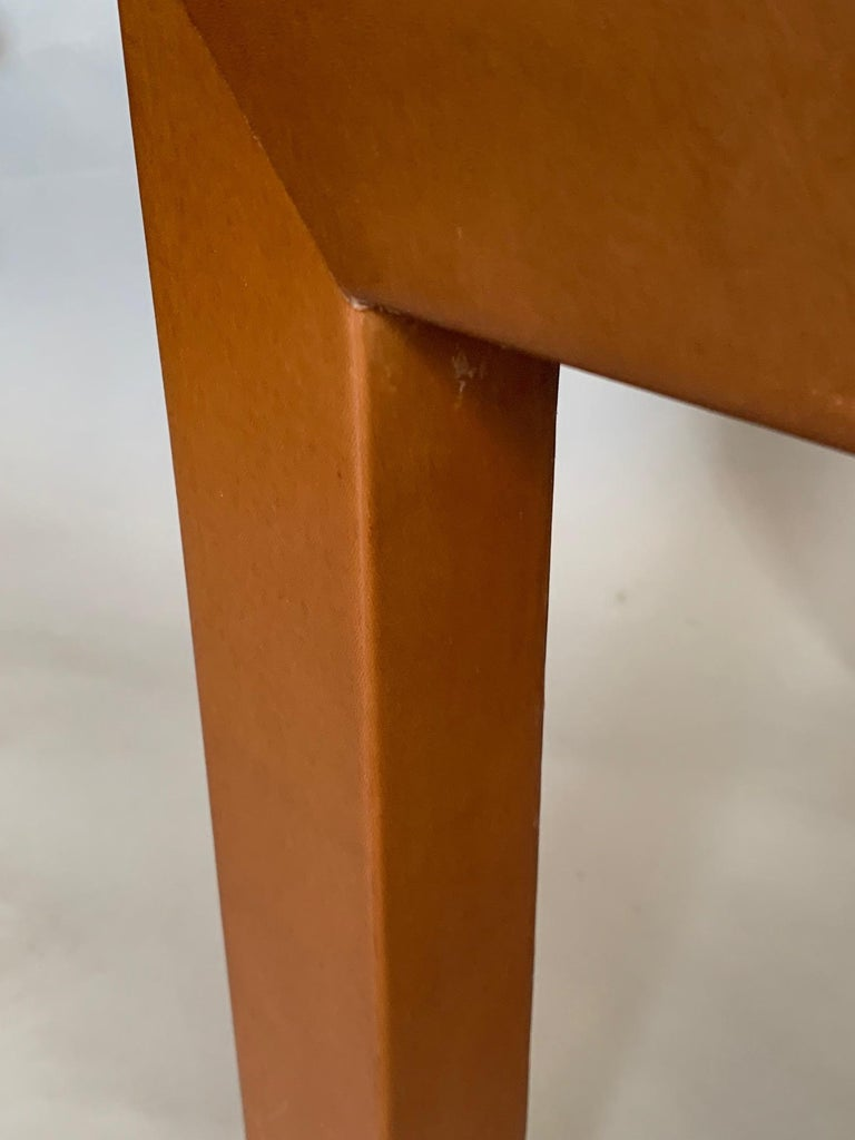 Pair of Parsons Leather Pedestal Tables In Good Condition For Sale In St.Petersburg, FL