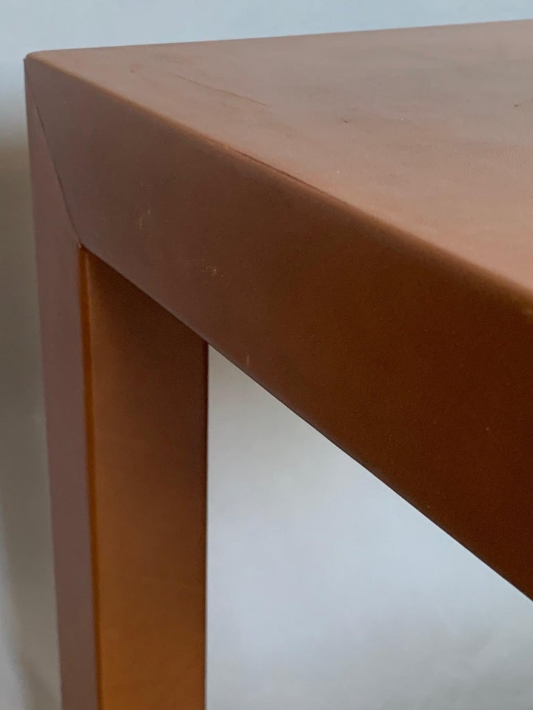 Pair of Parsons Leather Pedestal Tables For Sale 2